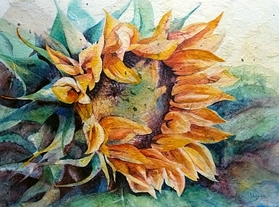 Sunflower watercolor rice paper collage