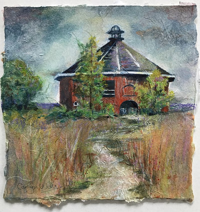 Fountaingrove Round Barn ©Carolyn Wilson 2017. Mixed media and collage painting. Original Sold. Giclée reproductions available