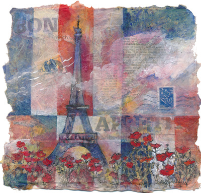 Painting depicting Eiffel Tower, red poppies, French flag, Bon Appetite. Red white and blue. Mixed media collage painting by Carolyn Wilson