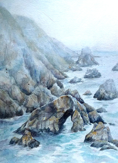 Rocky coast, waves and arched rock at Bodega Head, Sonoma Coast. Watercolor and rice paper collage painting by Carolyn Wilson