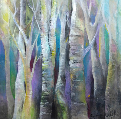 Painting of white tree trunks set in a turquoise and lavender colored  forest. Mixed media and rice paper collage painting by Carolyn Wilson
