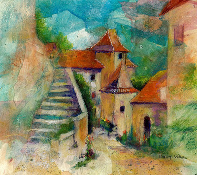 Painting of the French village of St Cirq Lapopie, France showing stone buildings and steps. Mixed media and rice paper collage painting by Carolyn Wilson