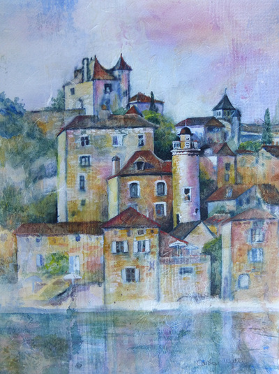 Medieval stone buildings by the river at Puy L'Eveque France. Mixed media collage painting by Carolyn Wilson