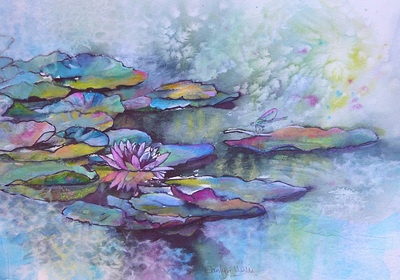 painting of waterlilies inspired by a visit to Monet's garden at Giverny, France. Mixed media and rice paper collage painting by Carolyn Wilson