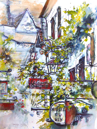 Wrought iron signs and lamps outside the Musee du Vin, St Cirq Lapopie, France. Mixed media painting by Carolyn Wilson