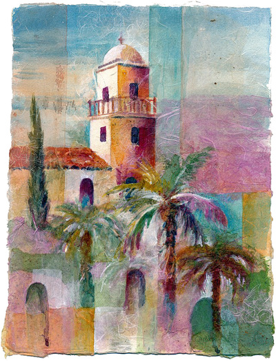 Painting of Spanish style mission building with arched windows and red tile roof set in a landscape with palm trees.