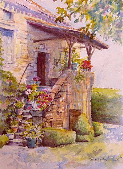 Watercolor and ink painting of French stone house and stone stairs with colorful potted plants