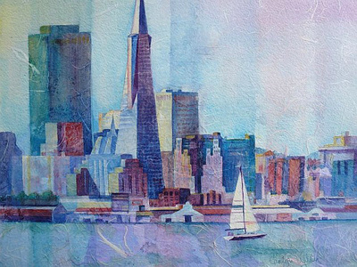 San Fransisco bay and skyline, Transamerica pyramid, yacht with white sail. Painting by Carolyn Wilson