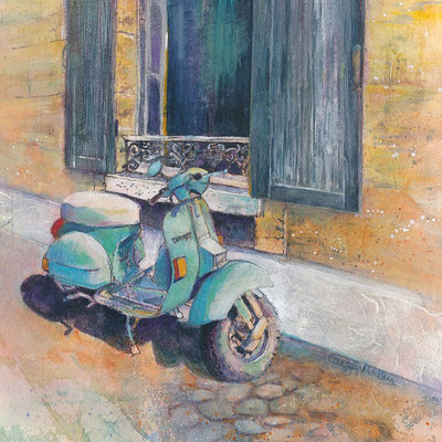Painting of turquoise colored vintage Vespa scooter parked infront of stone wall and window with shutters. France. Mixed media painting by Carolyn Wilson.