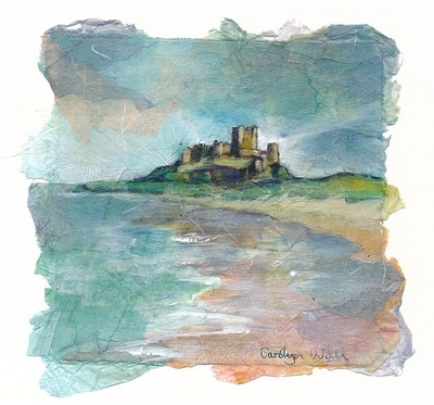 Painting of Bamburgh castle on the coast of Northumberland, England. Painting by Carolyn Wilson