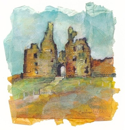Painting of Dunstanburgh castle ruins. Northumberland, England. Mixed media and collage painting by Carolyn Wilson