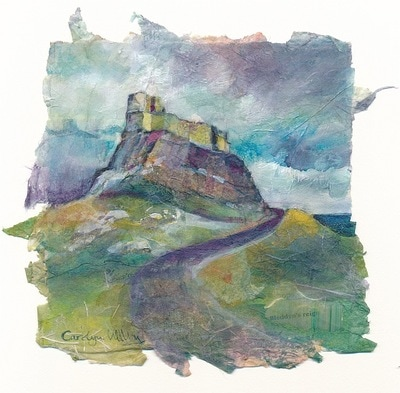 Painting of Lindisfarne castle, Holy Island, Northumberland, England. Mixed media and rice paper collage by Carolyn Wilson
