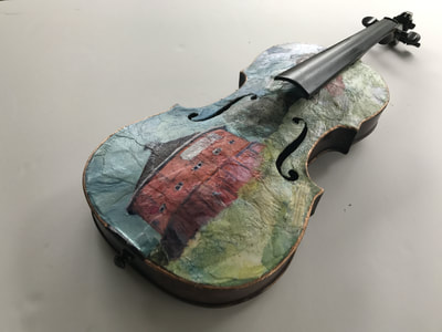Hand painted violin depicting Fountaingrove Round Barn, lost in the Tubbs Fire of Santa Rosa ,October 2017.