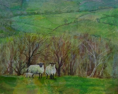 Painting of Welsh countryside, green hills of Brecon Beacons with sheep and lamb. Painting by Carolyn Wilson