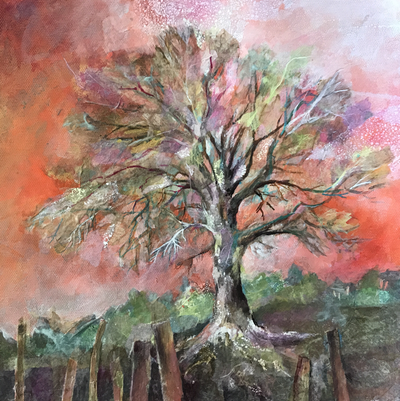 Mixed Media painting of Oak tree and old fence against orange sky. Surface texture created with rice paper collage, Painting by Carolyn Wilson