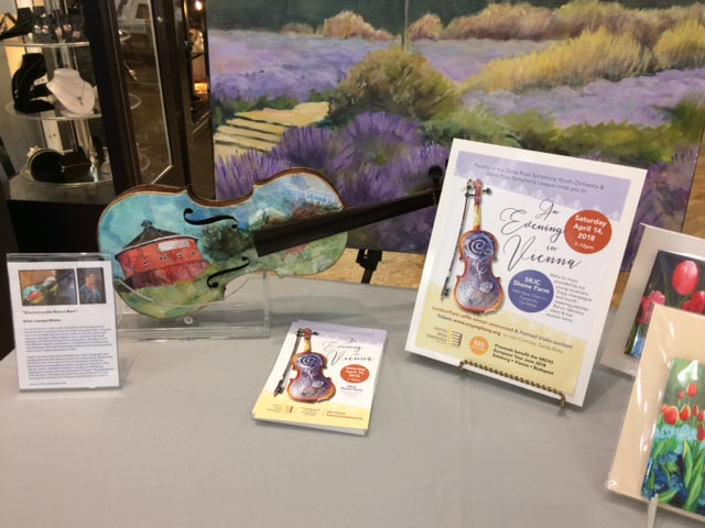 Painted Violin deoicting Fountaingrove Round Barn, mixed media collage by Carolyn Wilson