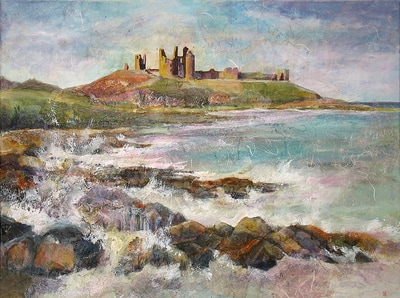 Painting of Dunstanburgh Castle ruins on Northumberland coast, England. Mixed media painting by Carolyn Wilson