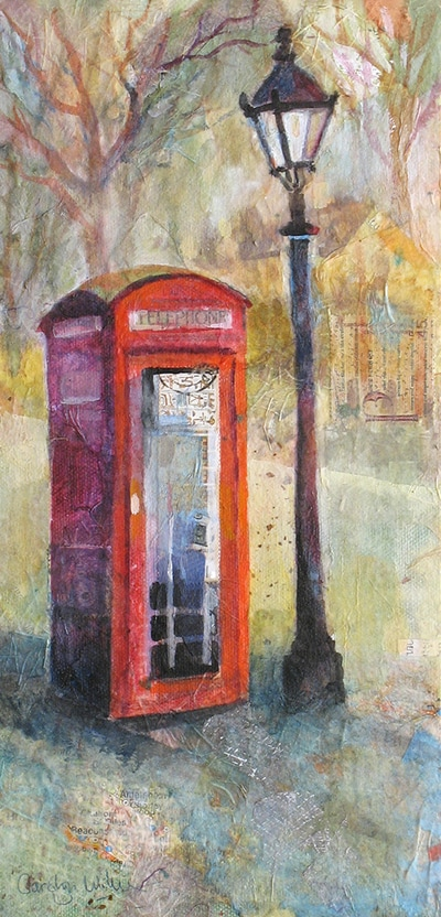 Painting of English red phone box and lamp post by Carolyn Wilson