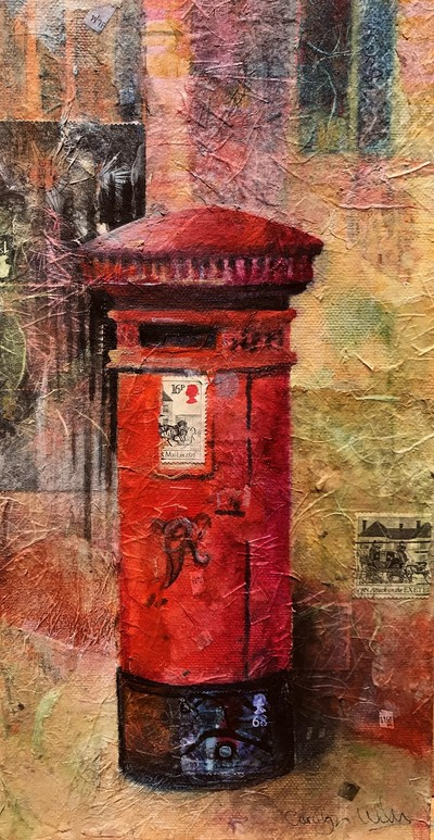 Painting of red British Letter Box. Textured mixed media and collage, including postage stamps. Mixed media painting by Carolyn Wilson.