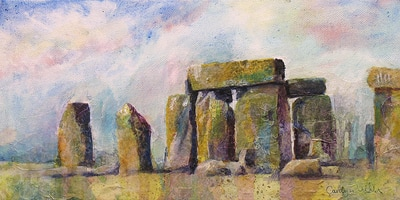 Painting of standing stone circle, Stonhenge, Wilsthire, England. Mixed media collage by Carolyn Wilson