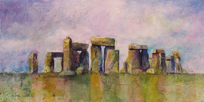 Painting of Stonehenge, England. Mixed media collage by Carolyn Wilson
